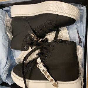 Prada  Black Tessuto Studded Strap High Sneaker